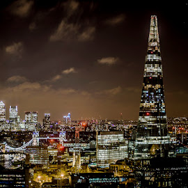 The Shard by Si Richardson - City,  Street & Park  Skylines ( the shard, skyline, canery wharf, skyscrapers, towerblocks, rooftop, city, lights, tower, south bank, shard, thames, london, skyscraper, tower bridge, buildings, dark, night, river thames, river )