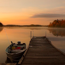 by Helen Bagley - Transportation Boats ( calm, fall colors, colorful, sunset, fall, boats, lakes )