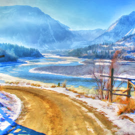 Frozen in Time by Dallas Kempfle - Digital Art Places ( the best place on earth, fraser river, winter, canada, snow, frozen, beautiful bc, lillooet, river )
