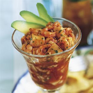 Seafood Cocktail in Spicy Red Sauce (Ceviche Rojo de Camaron y Sierra)