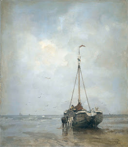 RIJKS: Jacob Maris: Bluff-bowed Fishing Boat on the Beach at Scheveningen 1885