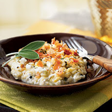Sage Risotto with Fresh Mozzarella and Prosciutto