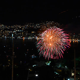Shades Of Pink by Kamila Romanowska - Abstract Fire & Fireworks ( acapulco, new year, mexico, nye, fireworks, pink, celebration, light )