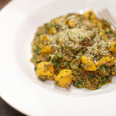 Farro Risotto with Spinach and Basil Pesto and Sweet Potato