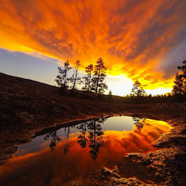 Explosive Reflections by Nico Bell-Andrade - Landscapes Sunsets & Sunrises ( water, clouds, mountains, adventure, sky, camping, sierras, sunset, reflections, storm, hiking,  )