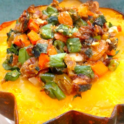 Brisket and Veggies Stuffed Acorn Squash