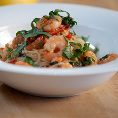 Angel Hair Pasta With Prawns, Chilli And Tomatoes