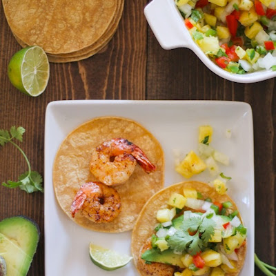 Shrimp and Avocado Tacos with Pineapple Salsa