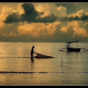 Early morning fishing Bali 1980's by Paul White - Landscapes Beaches ( bali, indonesia, asia, fishing )