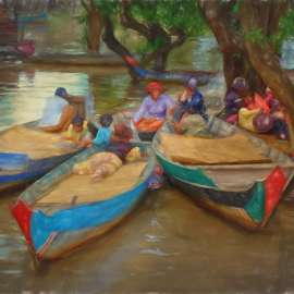 River bank Dwellers by Ferdinand Ludo - Digital Art People ( child, small wooden boats, riverbed dwellers, women, cambodia )