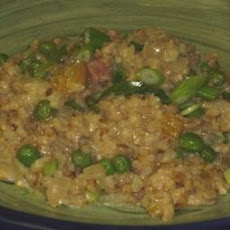 Creamy Pea & Chive Pearl Barley Risotto (Reduced Fat)