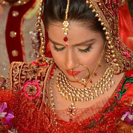 Indian Bride by Nimit Rastogi - Wedding Bride ( jwellery, weddings, wedding, india, shy, bride )