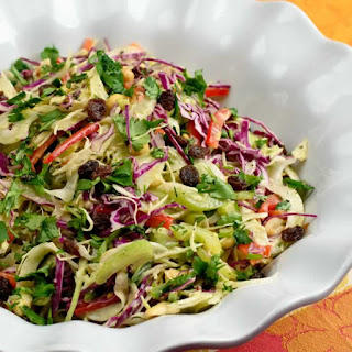 Cabbage Slaw with Fresh Ginger, Garam Masala & Roasted Peanuts