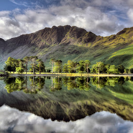 Buttermere, early morning in The Lake District by Dave Byford - Landscapes Mountains & Hills ( water, mountains, england, cumbria, earl morning, reflections, trees, lake, sunrise, buttermere, the lake district,  )