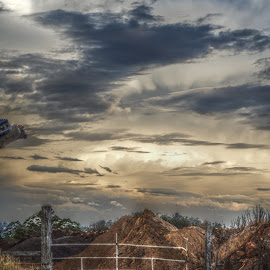 Clouds and Gate by Alseka Cayden - Landscapes Cloud Formations ( sky, grass, cloud, dirt, gate )