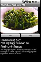 Screenshot of Thai Talking Food Menu Pro