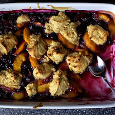Peach Blueberry Cornmeal Cobbler