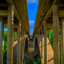 Bridging It by Colin Harley - Buildings & Architecture Bridges & Suspended Structures ( sky, hdr, blue, green, d5200, nikkor, motorway, valley, bridge, nikon )