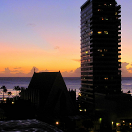 Waikiki Beach Evening by Mina Thompson - City,  Street & Park  Skylines ( skyline, waikiki beach, sunset, tropical, buildings, evening, hawaii )