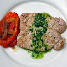 Ferran Adrià's Pork Loin with Roasted Peppers and Parsley Oil