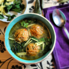 Prawn & Chorizo Meatballs in Chicken Broth