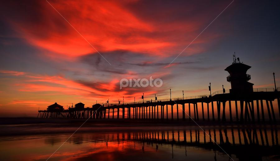 Huntington Beach Pier by Dan Pham - Buildings & Architecture Bridges & Suspended Structures ( colour, sunset, cloud, pier, beach,  )