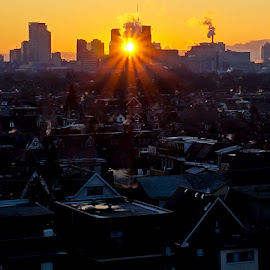 Urban Sunburst by Roy Morra - City,  Street & Park  Skylines ( industrialization, ray, toronto, smoke, city, sony, urban, sunburst, industrial, sunrise, smokestack, slt a37, industry, light, downtown, steam )