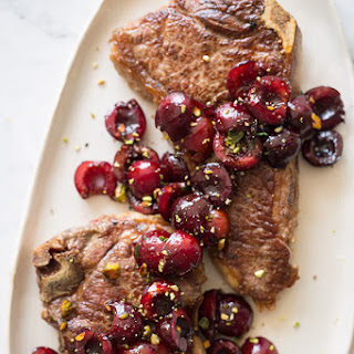 Grilled New York Strip Steaks with Cherry-Port Compote