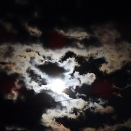 Moon in Clouds by Theresa Campbell - Novices Only Landscapes