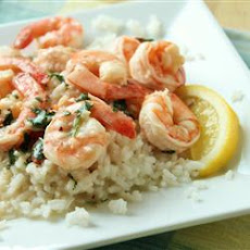 Lemony Shrimp over Brown Rice