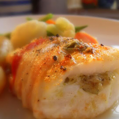 Roasted Cod with Pancetta and Artichoke Pesto