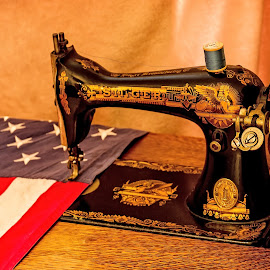 Old Glory by Michael Wolfe - Artistic Objects Antiques ( stars, thread, american flag, artistic object, antique sewing machine, stripes, sewing machine, antique )
