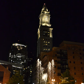 Boston Custom House with Greenway Fountain by Craig Higgins - Buildings & Architecture Public & Historical