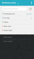 Screenshot of Buy Me a Pie! Grocery List