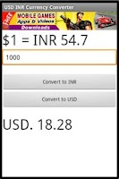 Screenshot of USD INR Currency Converter