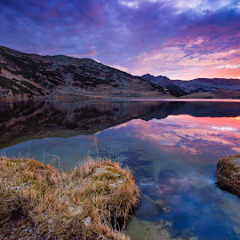 Supernova by Lucian Satmarean - Landscapes Sunsets & Sunrises ( clouds, mountains, color, lake, sunrise )