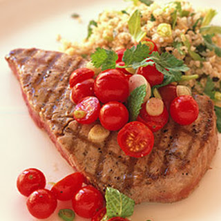 Grilled Tuna with Cherry-Tomato Salad and Herbed Bulghur