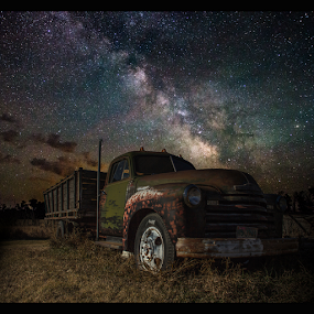by Aaron Groen - Transportation Other ( milkyway, old, aaron groen, truck, south dakota, rusty, pick up, chevy, milky way, nightscape, sky, great rift, homegroen, stars, dark, astrophotography, night, long exposure, galactic center, air glow, galaxy )