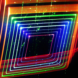 Old photo camera by Jim Barton - Abstract Patterns ( laser light, colorful, light design, laser design, old photo camera, laser, laser light show, light, science )