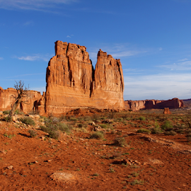 Court House Towers by Dennis Robertson - Landscapes Caves & Formations ( desert, red rock )
