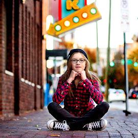 Urban Girl by Jennifer Olmstead - Babies & Children Child Portraits ( cool, canon, glasses, 2.8, brick, alternative, city life, portrait, city, child, urban, girl, female, nashville, city lights, sneakers )