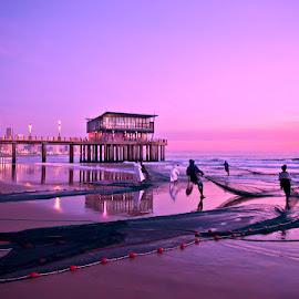 Lavender Sunrise by Deon Calitz - Landscapes Beaches ( durban, south africa, fishing, beach, landscape, fisherman )