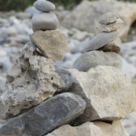 Cairns on the Isar River, Munich by Lori Rider - Nature Up Close Rock & Stone ( building, stone, stones, rocks, river )