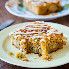 Banana Zucchini Pudding Cake with Vanilla Browned Butter Glaze