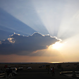 7'0 clock by Venkat Krish - Landscapes Cloud Formations ( #sky #clouds #sun #sunshine #light #beach #sand )