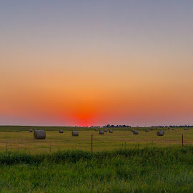 by Richard Turner - Landscapes Sunsets & Sunrises ( field, farm, hay bales, sunset, round bales, plains, country )
