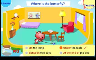 Screenshot of Kids Grammar Prepositions 1