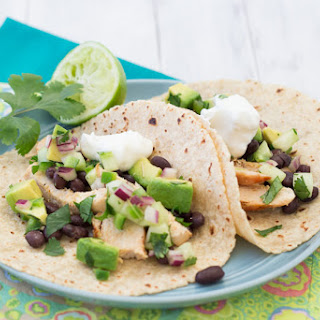 Chicken Tacos with Cucumber-Avocado Salsa