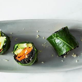 Collard Roll Ups with Coconut Curry Kale