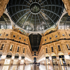 Midnight Shopping by Michael Wiejowski - Buildings & Architecture Public & Historical ( milan, europe, gallery, travel, galeria, shopping, italy )
